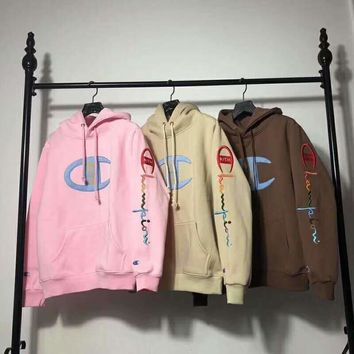 Champion Tide brand joint KITH embroidery logo men and women models hooded sweater