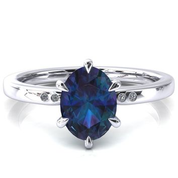 Maise Oval Alexandrite 6 Prong Diamond Accent Engagement Ring