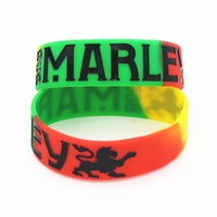 "25PCS 1"" Wide BOB Marley Silicone Wristband For Music Fans Colorful Star Rasta Jamaica Reggae Bracelets& Bangles Gift SH098"
