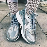 Nike Air Huarache Fashion Men Women Casual Running Sport Shoes Sneakers Silve&Gray