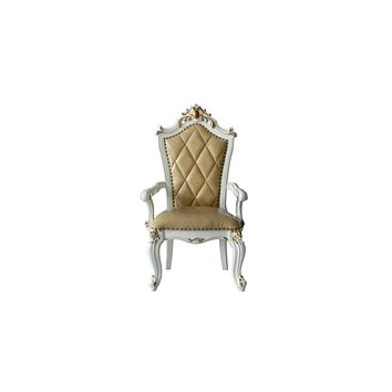 """Armchairs and Accent Chairs - 27"""" X 28"""" X 48"""" PU Antique Pearl Wood Poly-Resin Upholstered (Seat) Arm Chair (Set-2)"""