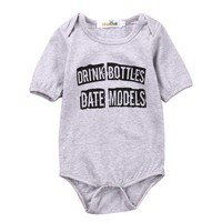 Newborn Infant Baby Girls Boy Cotton Romper Jumpsuit Playsuit Letters Unisex Short Sleeve Summer Baby Clothes Outfit