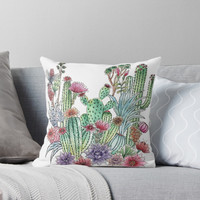 'Cactus garden' Throw Pillow by juliagrifol
