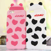 Cute little panda and pig phone case for iPhone 7 7 plus iphone 5 5s SE 6 6s 6 plus 6s plus + Nice gift box 1609300302GK