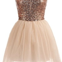 Bronze Implosion Dress | Strapless Sequin Tutu Party Dresses | Rickety Rack
