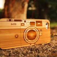 Bamboo, Walnut or Sapele Wood iPhone Case:  Camera design or Design your own