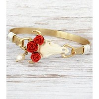 Red Rose Steer Head Bangle Bracelet
