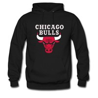 Nesth Men's and Women's Personalized Custom With Printed Chicago Bulls logo Classic Hoodie L Black