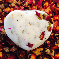 Fizzing Bath bomb with cocoa and shea butters and rose buds