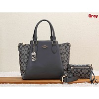 Coach Classic Women Retro Leather Handbag Tote Shoulder Bag Purse Wallet Set Two-Piece Grey