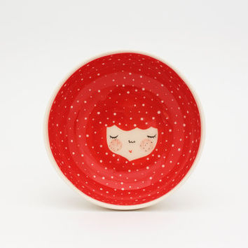 Coral Red ceramic serving bowl - Red serving bowl - Icecream Bowl -  Gift idea - face plate - Serveware - Kitchenware - MADE TO ORDER