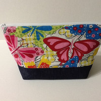 Butterflies and Denim Quilted Project Bag, Zippered Crochet Bag, Quilted Knitting Bag, Large Cosmetic Bag, Quiltsy Handmade