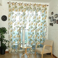 New Style Window Curtain Door Modern Room Flower Tull Window Screening Curtain Drape 270cm X 100cm