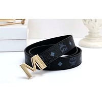 MCM Tide brand wild men and women classic print smooth buckle belt Black