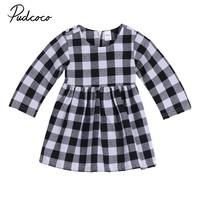 2017 New Brand Infant Toddler Newborn Baby Girls Checked Long Sleeve Dress Outfits Casual Jumpsuit Autumn Dress