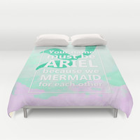Mermaid For Each Other-Pick Up Lines Collection Duvet Cover by ByBreDesigns