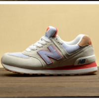 New balance Leisure shoes running shoes men's shoes for women's shoes couples N word Beige