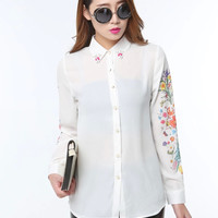 White Floral Beaded Collar Button Long-Sleeve Chiffon Blouse