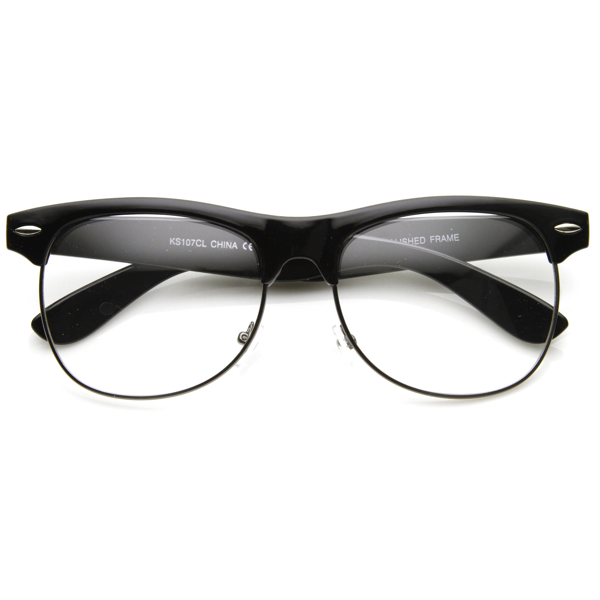 Image of Retro Classic Half Frame Clear Lens Glasses 8846