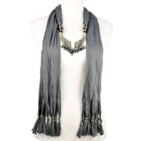 Huan Xun Metal Angle Wing Jewelry Scarves with Beads Charms Dark Grey