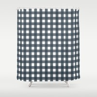 Navy Check Pattern Shower Curtain by Allyson Johnson | Society6