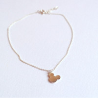 Tiny rose Anklet in Silver ,Summer Weddings