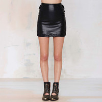 Black High Waisted Leather Mini Skirt
