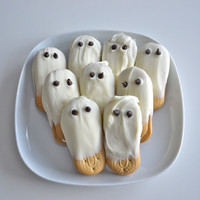 French Vanilla White Chocolate Covered Cookie Ghosts with by nikid