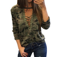 Camo Lace V Neck Long sleeved Shirt