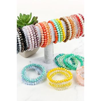 HDB2259 - FOUR LINE CRYSTAL BEADS STRETCH BRACELET