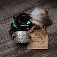 RCB-02, repurposed vintage concho wrapped bracelet with guinea feathers