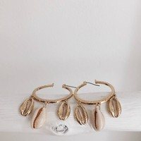 Awake Crushed Metal Seashell Hoop Earrings