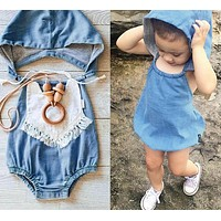 Girl clothes casual summer Blue hooded Imitation cowboy jumpsuit summer newborn baby girl romper