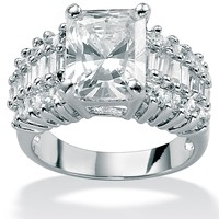 5.54 TCW Emerald-Cut Cubic Zirconia Platinum over Sterling Silver Fashion Ring