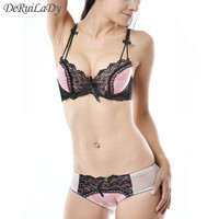 DeRuiLady NEW Underwear Vs Women Bra Sets Sexy Satin Luxury Lingerie Suit Women Intimates Embroidery Push Up Bra And Panty Sets