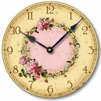 Item C6032 Vintage Style Shabby Chic Pink Roses Clock (10.5 Inch Diameter)