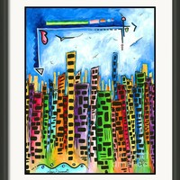 Abstract Pop Art Style Unique Cityscape Skyline Painting By Megan Duncanson Framed Print