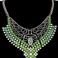 Green Crystal Stone with Cut-Out Detail Collar Necklace