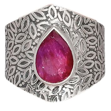 Ruby Sterling Silver Vine Pattern Band Ring