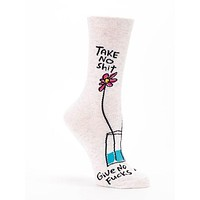 Take No Shit, Give No Fucks Women's Crew Socks