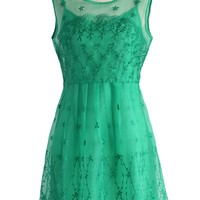 Bliss Embroidered Organza Dress in Emerald Green