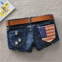 Womens Jeans Short American Flag Low Waisted Shorts