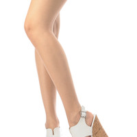White Faux Leather Cut Out Sling Back Cork Wedges