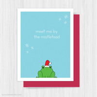 Funny Christmas Card For Boyfriend Girlfriend Fun Cute Frog Love Pun Handmade Greeting Cards Illustration Holiday Gifts Gift Ideas Her Him