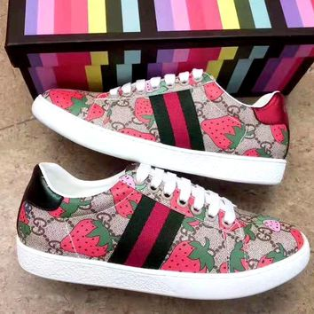 Gucci Strawberry Print Women's Casual Shoes