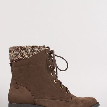 Sweater Knit Cuff Lace Up Ankle Bootie
