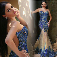 New Listing Blue Sequined Sweetheart Mermaid Evening Dress Long 2016 Floor Length Tulle Vestido de festa Formal Dresses Gowns