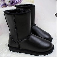 UGG hot sale warm and fluffy new style leather waterproof non-slip snow boots ladies fashion fluffy casual snow shoes