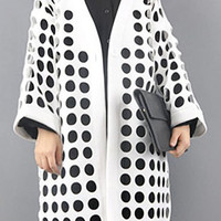 Cut Out One Button Long Sleeve Coat