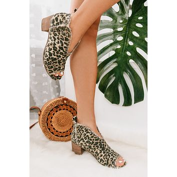 Party Animal Open Toe Booties (Leopard)